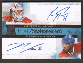 2010/11 The Cup Dual Enshrinements Carey Price / PK Subban # 26/35 HARD SIGNED