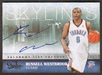 2009-10 Panini Studio Russell Westbrook Skylines AUTO Autograph On-Card #25/99 Thunder