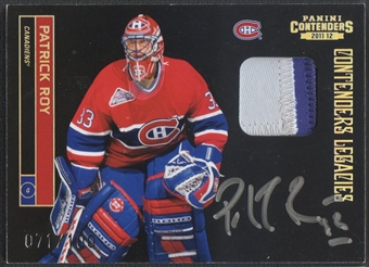 2011/12 Panini Contenders #153 Patrick Roy Patch Auto #071/100