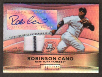 2010 Bowman Platinum Robinson Cano REFRACTOR Game Worn Jersey Autograph Pin-Stripe Jersey /740