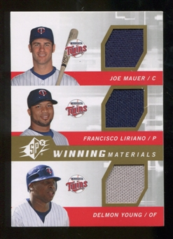 2009 Upper Deck SPx Winning Materials Triple #MLY Joe Mauer/Francisco Liriano/Delmon Young