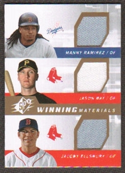 2009 Upper Deck SPx Winning Materials Triple #RBE Manny Ramirez/Jason Bay/Jacoby Ellsbury