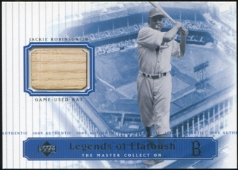 2000 Upper Deck Brooklyn Dodgers Master Collection Legends of Flatbush #LOF2 Jackie Robinson Bat /250