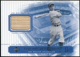 2000 Upper Deck Brooklyn Dodgers Master Collection Legends of Flatbush #LOF3 Pee Wee Reese Bat /250