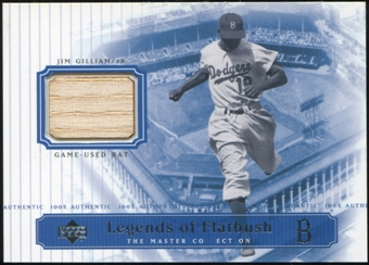 2000 Upper Deck Brooklyn Dodgers Master Collection Legends of Flatbush #LOF4 Jim Gilliam Bat /250