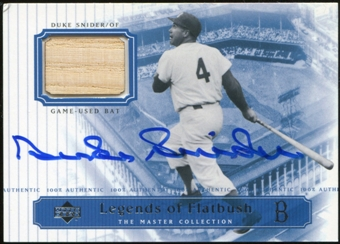 2000 Upper Deck Brooklyn Dodgers Master Collection Legends of Flatbush #LOF9 Duke Snider Bat Autograph /250