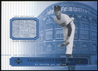 2000 Upper Deck Brooklyn Dodgers Master Collection Legends of Flatbush #LOF10 Don Drysdale Jersey /250