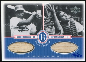 2000 Upper Deck Brooklyn Dodgers Master Collection Mystery Pack Dual Bat Jackie Robinson Roy Campanella 36/50