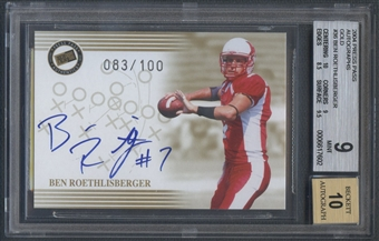 2004 Press Pass #36 Ben Roethlisberger Gold Rookie Auto #083/100 BGS 9