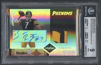 2004 Leaf Limited #227 Ben Roethlisberger Silver Spotlight Rookie Patch Auto #13/15 BGS 9