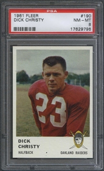 1961 Fleer Football #190 Dick Christy PSA 8 (NM-MT) *9796