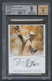 2004 Flair Autograph Collection #ACBR Ben Roethlisberger Bronze Rookie Auto #081/250 BGS 9