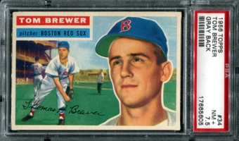 1956 Topps Baseball #34 Tom Brewer PSA 7.5 (NM+) *5605