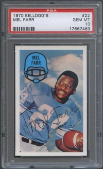1970 Kellogg's Football #22 Mel Farr PSA 10 (GEM MT) *7463