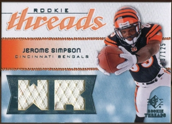 2008 Upper Deck SP Rookie Threads Rookie Threads 125 #RTSI Jerome Simpson /125