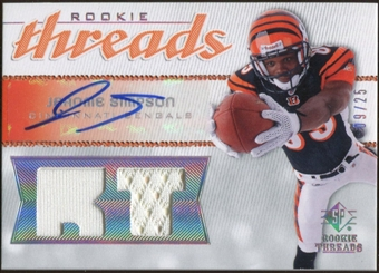 2008 Upper Deck SP Rookie Threads Rookie Threads Autographs Position 25 #RTSI Jerome Simpson 9/25