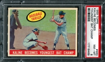 1959 Topps Baseball #463 Al Kaline Youngest Bat Champ PSA 8 (NM-MT) *8469