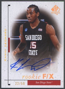 2011/12 SP Authentic #88 Kawhi Leonard Rookie FX Auto #22/50