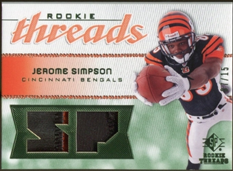 2008 Upper Deck SP Rookie Threads Rookie Threads Patch #RTSI Jerome Simpson /15
