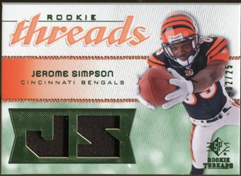 2008 Upper Deck SP Rookie Threads Rookie Threads Patch #RTSI Jerome Simpson /25