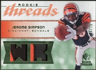 2008 Upper Deck SP Rookie Threads Rookie Threads Patch #RTSI Jerome Simpson /75