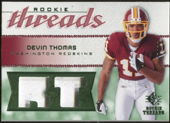2008 Upper Deck SP Rookie Threads Rookie Threads Patch 99 #RTDT Devin Thomas /99