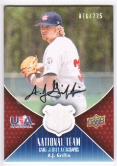 2009 Upper Deck USA National Team Jersey Autographs #AG A.J. Griffin Autograph /225