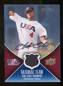 2009 Upper Deck USA National Team Jersey Autographs #CC Christian Colon Autograph /225