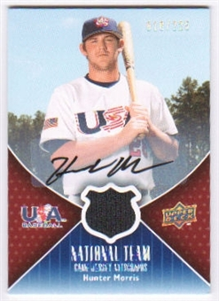 2009 Upper Deck USA National Team Jersey Autographs #HM Hunter Morris Autograph /225