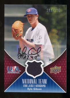 2009 Upper Deck USA National Team Jersey Autographs #KG Kyle Gibson Autograph /225