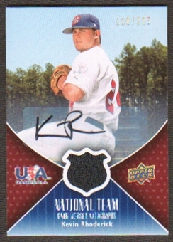 2009 Upper Deck USA National Team Jersey Autographs #KR Kevin Rhoderick Autograph /225
