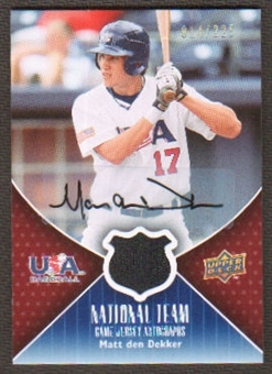 2009 Upper Deck USA National Team Jersey Autographs #MD Matt den Dekker Autograph /225