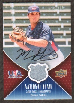 2009 Upper Deck USA National Team Jersey Autographs #MG Micah GIbbs Autograph /225
