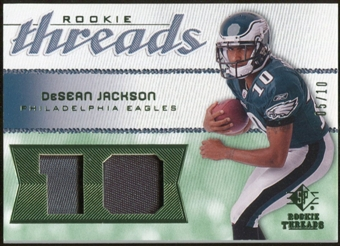 2008 Upper Deck SP Rookie Threads Rookie Threads Patch Jersey Number #RTDJ DeSean Jackson /10