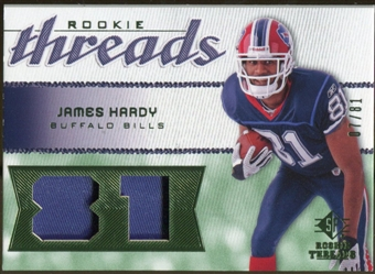 2008 Upper Deck SP Rookie Threads Patch Jersey Number #RTJH James Hardy /81