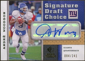 2008 Upper Deck SP Rookie Threads Signature Draft Choice #SDCAW Andre Woodson Autograph /241