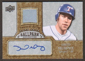 2009 Upper Deck Ballpark Collection Jersey Autographs #DM David Murphy Autograph