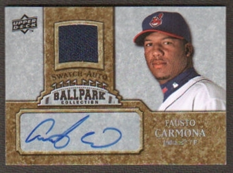 2009 Upper Deck Ballpark Collection Jersey Autographs #FC Fausto Carmona Autograph