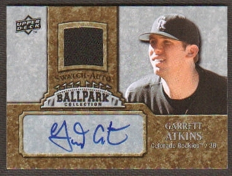 2009 Upper Deck Ballpark Collection Jersey Autographs #GA Garrett Atkins Autograph