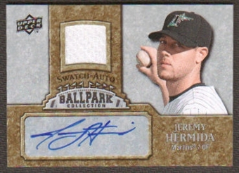 2009 Upper Deck Ballpark Collection Jersey Autographs #JH Jeremy Hermida Autograph