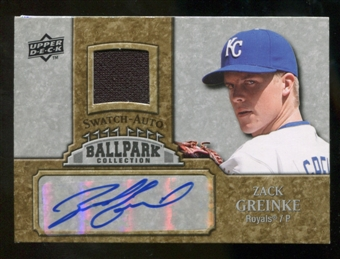 2009 Upper Deck Ballpark Collection Jersey Autographs #ZG Zack Greinke Autograph