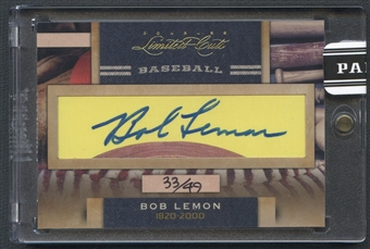 2011 Donruss Limited Cuts #34 Bob Lemon Cut Auto #33/49