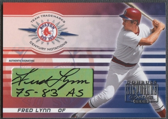 2003 Donruss Signature #10A Fred Lynn Team Trademarks Notations Century Auto 75-83 AS