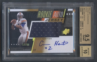 2011 SPx #68 Cam Newton Gold Rookie Jersey Auto #17/30 BGS 9.5