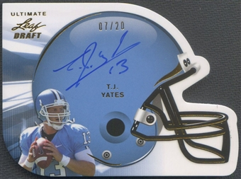 2011 Leaf Ultimate Draft #HTJY T.J. Yates Helmet Die Cuts Gold Rookie Auto #07/20