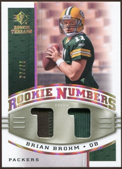 2008 Upper Deck SP Rookie Threads Rookie Numbers Holofoil Patch 75 #RNBB Brian Brohm /75