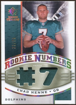 2008 Upper Deck SP Rookie Threads Rookie Numbers Holofoil Patch #RNCH Chad Henne /75
