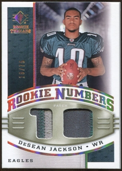2008 Upper Deck SP Rookie Threads Rookie Numbers Holofoil Patch #RNDJ DeSean Jackson /75