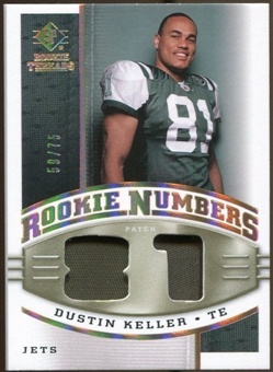 2008 Upper Deck SP Rookie Threads Rookie Numbers Holofoil Patch #RNDK Dustin Keller /75