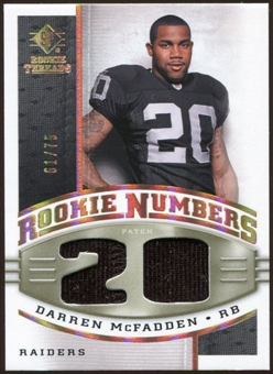 2008 Upper Deck SP Rookie Threads Rookie Numbers Holofoil Patch #RNDM Darren McFadden /75